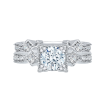 18K White Gold 1/4 Ct Diamond Carizza Semi Mount Engagement Ring to fit Cushion Center