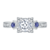 18K White Gold Cushion Cut Diamond Engagement Ring with Sapphire