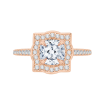 18K Rose Gold Cushion Cut Diamond Halo Vintage Engagement Ring (Semi-Mount)
