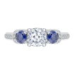 18K White Gold Cushion Diamond and Sapphire Three-Stone Engagement Ring (Semi-Mount)