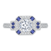 18K White Gold Cushion Diamond Halo Engagement Ring with Sapphire (Semi-Mount)