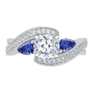 18K White Gold Cushion Diamond and Sapphire Engagement Ring (Semi-Mount)