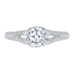 Cushion Diamond Engagement Ring with Split Shank In 18K White Gold (Semi-Mount)