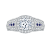 18K White Gold 5/8 Ct Diamond and .05 Ct Saphhire Carizza Semi Mount Engagement Ring to fit Cushion Center