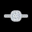 18K Two-Tone Gold Cushion Diamond Halo Engagement Ring (Semi-Mount)