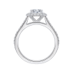 18K White Gold  3/8 Ct Diamond Carizza Semi Mount Engagement Ring to fit Cushion Center