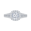 18K White Gold Cushion Cut Diamond Halo Engagement Ring with Split Shank (Semi-Mount)