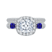 18K White Gold Cushion Cut Diamond Halo Engagement Ring with Sapphire