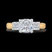 14K Two-Tone Gold Cushion Cut Diamond Three-Stone Plus Engagement Ring with Round Shank (Semi-Mount)