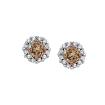 Diamond Halo Earrings with Brown Center Diamond in 10K White Gold (1/2 cttw)