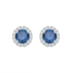 10K White Gold 1 ct. Center Blue Diamond Fashion Earrings