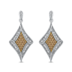 10K White & Yellow Gold 1/4 Ct Brown and White Diamond Fashion Earrings