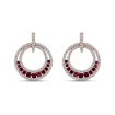 10K Rose Gold 1/2 Ct Diamond with 5/8 Ct Ruby Fashion Earrings