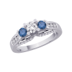 Three Diamond Plus Bridal Engagement Ring with Blue Side Diamonds in 14K White Gold (1/2 cttw)