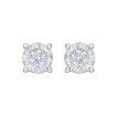 14K White Gold 1/4 Ct Diamond Lecirque Studs Earrings