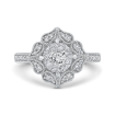 14K White Gold Round Cut Diamond Flower Shape Engagement Ring