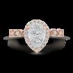 14K Two-Tone Gold Round Diamond Pear Shape Halo Engagement Ring