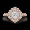 14K Two-Tone Gold Round Cut Diamond Flower Shape Engagement Ring