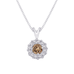 10K White Gold, Brown and White Diamond Fashion Pendant with Chain (1/3 cttw)