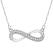 Infinity Diamond Milgrain Pendant with Chain in Sterling Silver (0.07 cttw)
