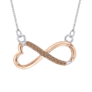 Heart Shaped Infinity Brown Diamond Pendant with Chain in Two Tone Sterling Silver (0.05 cttw)