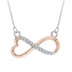 Heart Shaped Infinity Diamond Pendant with Chain in 10K Two Tone Gold (0.05 cttw)
