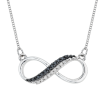 Two Row Infinity Black and White Diamond Pendant with Chain in Sterling Silver (0.07 cttw)
