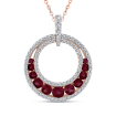 10K Rose Gold 1/3 Ct Diamond with 1 Ct Ruby Circle Pendant with Chain