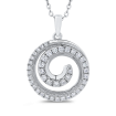 10K White Gold 2/3 Ct Diamond Fashion Pendant with Chain