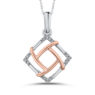 10K Two Tone Gold .05 ct Round Diamond Fashion Pendant with Chain