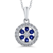 10K White Gold Round .14 ct Diamond & .12 ct Blue Sapphire Fashion Pendant with Chain