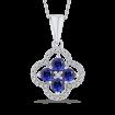 10K White Gold Round 1/5 ct Diamond & 1 1/5 ct Blue Sapphire Fashion Pendant with Chain