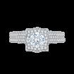 14K White Gold Round Diamond Halo Vintage Engagement Ring