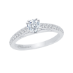 14K White Gold .27 ct. Diamond Promezza Engagement Ring with Round Center