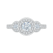 Round Cut Diamond Three-Stone Halo Engagement Ring In 14K White Gold