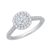14K White Gold .60 ct. Diamond Promezza Engagement Ring with Round Center