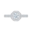 14K White Gold .46 ct. Diamond Promezza Engagement Ring with Round Center