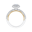 14K Two-Tone Gold Round Diamond Double Halo Engagement Ring