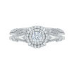 14K White Gold Round Diamond Double Halo Vintage Engagement Ring