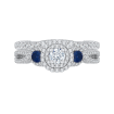 14K White Gold Round Cut Diamond And Sapphire Three-Stone Halo Engagement Ring