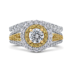 14K White Gold Round Double Halo Diamond Engagement Ring with Split Shank