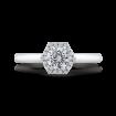 Platinum Round Diamond Hexagon Shape Halo Engagement Ring