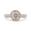 14K Rose Gold Round Halo Diamond Cathedral Style Engagement Ring
