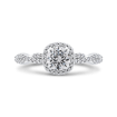 14K White Gold Floral Halo Diamond Engagement Ring