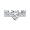 14K White Gold Pear Diamond Halo Engagement Ring
