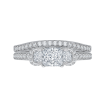 14K White Gold 1 ct. Diamond Promezza Engagement Ring with Princess Center