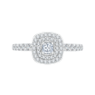 14K White Gold .57 ct. Diamond Promezza Engagement Ring with Cushion Center