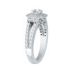 Cushion Diamond Double Halo Engagement Ring In 14K White Gold