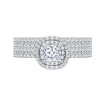 14K White Gold  1 .13 Ct. Diamond Promezza Engagement Ring With Cushion Center