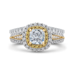 14K Two-Tone Gold Cushion Diamond Double Halo Engagement Ring with Split Shank